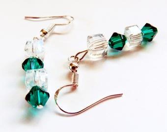 Sterling Silver Pierced Earrings, Green Swarovski Drop Earrings, Swarovski Dangling Earrings, Rhinestone Earrings, Swarovski Jewelry, Green