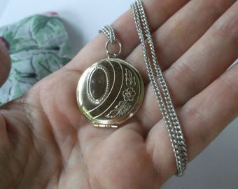"""Vintage Mid Century Floral Etched Round Locket on a long 22"""" Silver Chain, Larger Round Locket"""