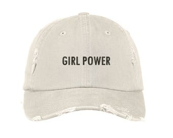 """GIRL POWER Distressed Dad Hat, Embroidered """"Girl Power"""" Feminism Hat, Low Profile Girl Gang Feminist Baseball Cap Hat, Stone"""