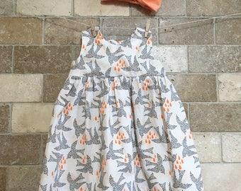 Baby girl dress. Cotton girl dress. Bird print dress with turban headband. Gray peach white dress. summer cotton dress. Fly by day dress.