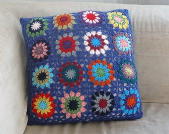 Hook and blue fabric pillow cover / multicolor