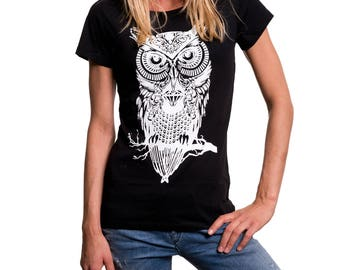 Womens Summer Top - Owl - Fancy Print Shirt Hipster Summer Top black  S/M/L