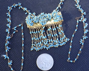 1920s Beaded Necklace Turquoise Glass