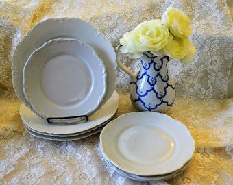 Antique Ironstone Plates White Plates Ironstone Dishes Bavarian Ironstone Plate Ironstone bread and butter plates service for 4  Ironstone