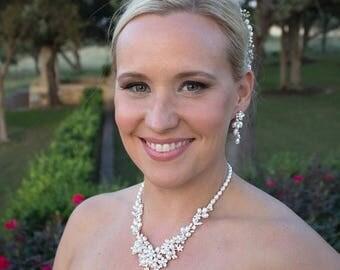 SALE Ends Monday Freshwater pearl CZ jewelry set, CZ Pearl Flower Wedding Necklace Set, bridal jewelry, wedding jewelry, cz jewelry set,jewe