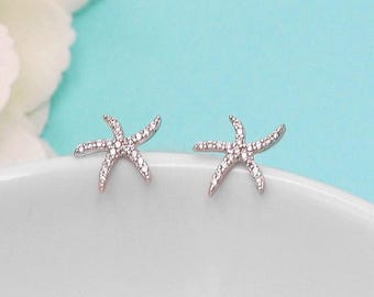 SALE Ends Friday Starfish Earrings, Star Fish Stud Earrings, wedding earrings, crystal earrings, crystal CZ earrings bridal jewelry, earring