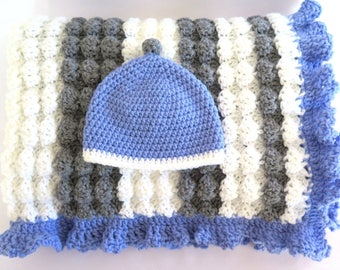 Crochet Baby Boy Blanket & Hat White Gray Periwinkle Blue Afghan Ready Made