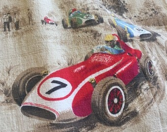 Set Of Vintage Barkcloth Drape Curtains Race Cars