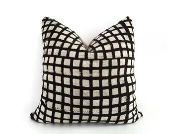 Authentic Mudcloth Pillow, Mali Bogolan, Black, Off-White, Cream, Squares, Cubes