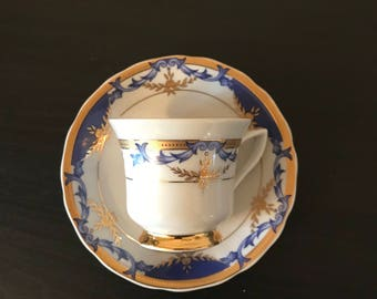 Royal Dresden Vintage Hand Painted Cobalt Blue Miniature Cup and Saucer Set