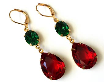 Christmas Emerald and Red Drop Earrings Swarovski Double Drop Earrings Emerald and Red Earrings Christmas Earrings Holiday Jewelry
