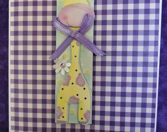 Purple Giraffe Baby Card