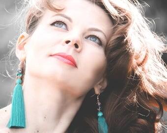 Tassel Earrings,  Emerald earrings, Long Tassel Earrings, Luxury Tassel Earring, Silky Tassel Jewelry