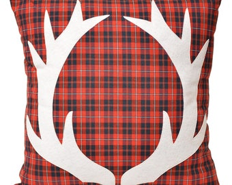 """21"""" Antlers on Tartan Plaid Large Decorative Throw Pillow, Winter Home Decor, Cabin, Lake House, Reindeer, Christmas, The Salty Cottage"""