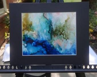 Original Alcohol Ink Painting, Original Abstract Blue and Pink Painting, Matted Painting, Abstract Ink Painting, Abstract Art, Ink Art