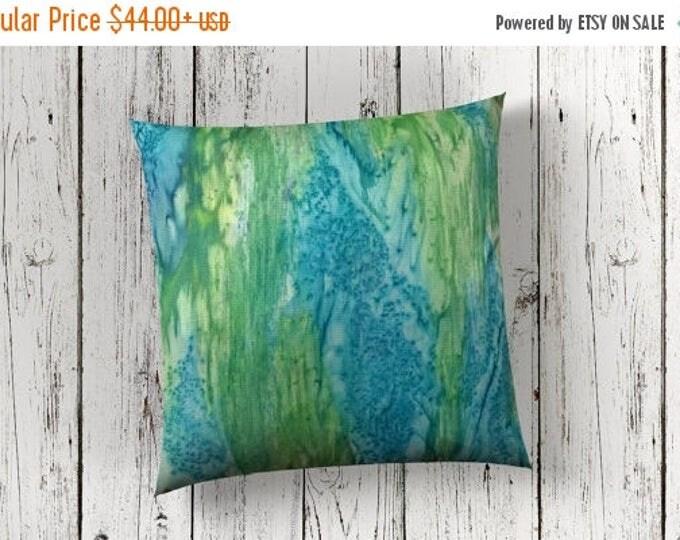 SALE Coastal Decor Pillow Cover 18x18-Watercolor Silk Pillow-Beach Decor-Ocean Decor-Bohemian Decor-Gift