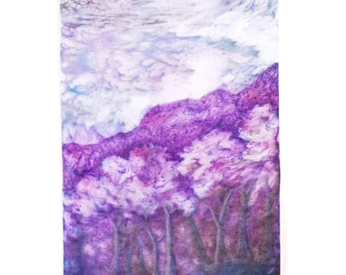 Flowering Trees Tapestry-Watercolor Silk Tapestry-Bohemian Decor-Purple Decor-Cottage Decor-Home Decor Gifts-Watercolor Home Decor