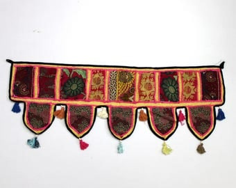 Handmade Window Door Valance Home Decor Decorative Embroidered Patchwork Toran Pelmet Topper Drapery Top Hanging Tent Decoration Art E981