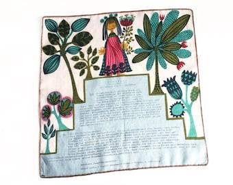 Virgo zodiac hankie, vintage handkerchief with horoscope for Virgo in German