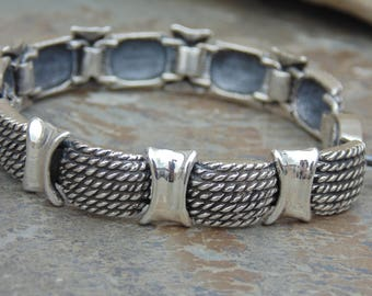 D'Molina ~ Mexican Heavy Sterling Silver Braided Dome Link Bracelet - 42 Grams