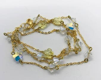 """27"""" yellow and clear Swarovski Crystal necklace"""