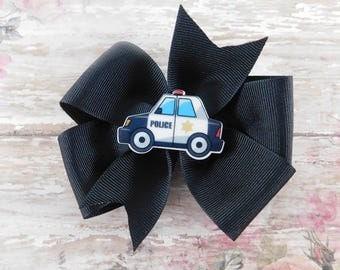 Police Car Hair Bow