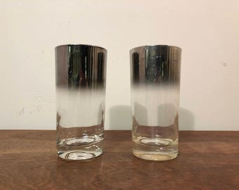 Two Silver Ombre 12 oz High Ball Glasses / Tumblers by Libbey