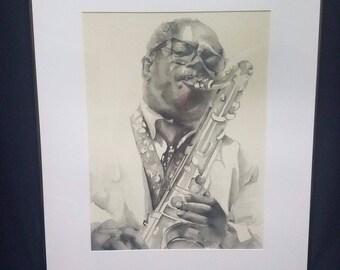 Barbara H Aydt 1983 Jazz Series Saxophone Player Lithograph African American