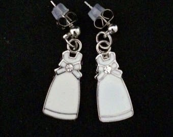 Post Back Earrings Featuring Silver Metal And Famcy White Dress With Jewel