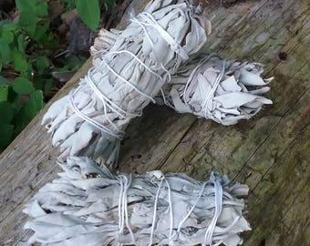 Small White Sage Smudge Sticks / 4 inch Natural White Sage Bundles / Cleansing / Protection / Incense / Aromatherapy / Pagan / Meditation