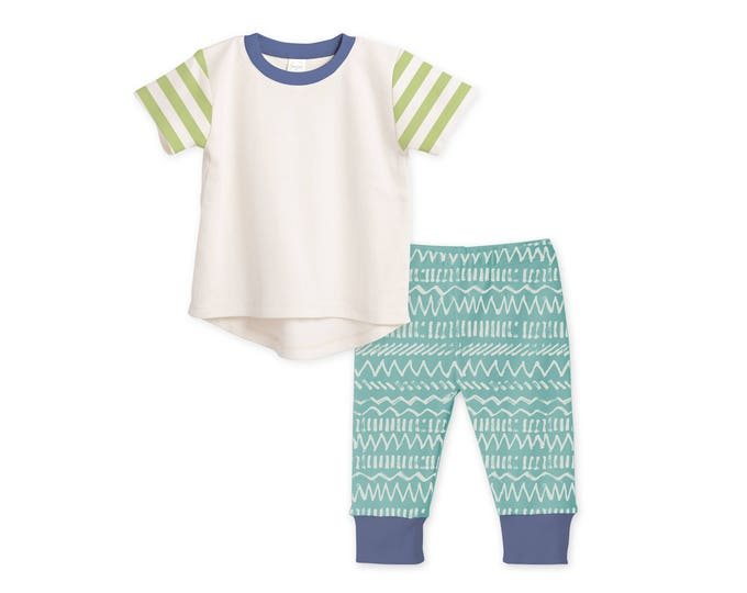 Baby Boy Outfit, Baby Boy Tshirt & Pants, Baby Boy Leggings, Baby Shower Gift, Chevron, Green and Blue, Tesababe TL120IYIG0000