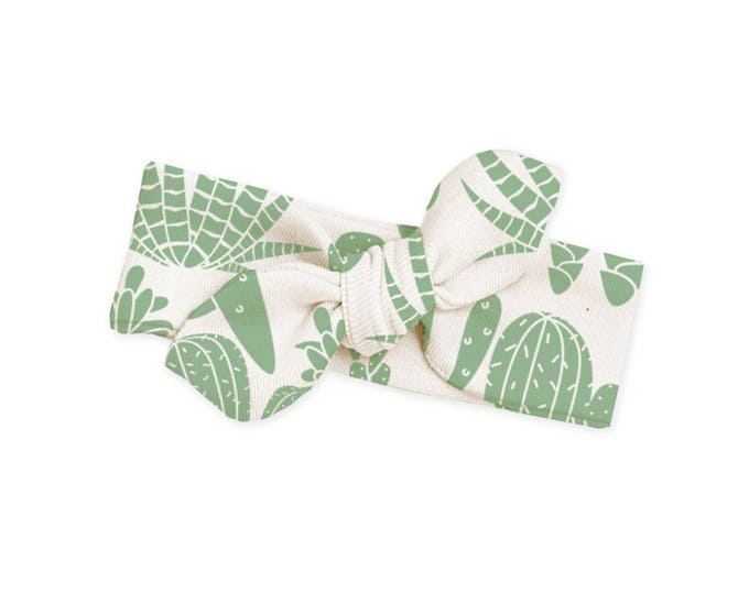 Baby Headband, Newborn Girl Headband, Infant Baby Bow Headband, Toddler Headbands, Green Cactus Baby Bow Headband, TesaBabe HB59BCG000000