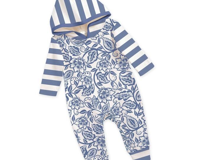 Baby Girl Hoodie Romper, Newborn Girl Romper, Blue Floral Long Sleeve Hooded Romper, TesaBabe