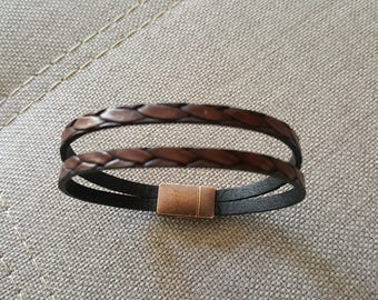 Fancy brown leather cord bracelet