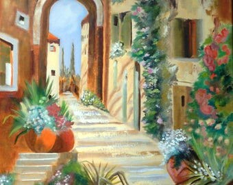 Beautiful Garden, Europe, Colorful,  Courtyard Blossoms,  Oil Painting, Size 18 X 24 Unframed.