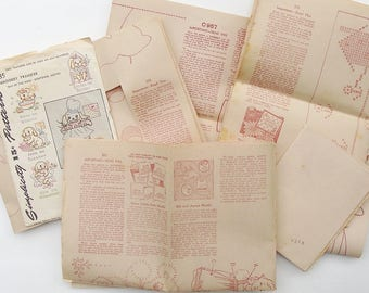 Vintage Lot of Embroidery Transfers/Patterns, Mail Order - Uncut 1946 Simplicity #7135 + Mail Order Transfers #C957, 975, 971, 973
