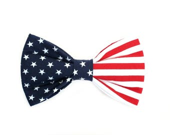 Patriotic American Flag Dog Bow Tie, pet bow tie, collar bow tie, wedding bow tie