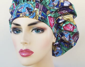 Beauty and the beast, Bouffant surgical scrub hat, scrub cap for women, scrub hat, surgical cap, Beauty and the beast print scrub hat