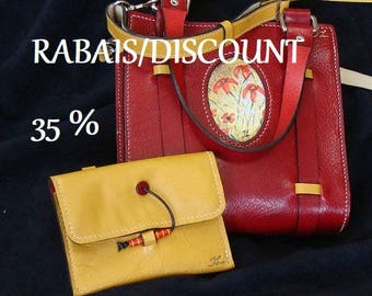 35% OFF! (Already applied) Red leather bag red and yellow leather, saddle stitching, handmade, exclusive, summer