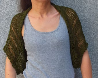Shrug, Bolero, Summer shrug, Green shrug, Loose knit, Women small shrug, Beach cover up