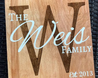 Hand painted Family Name and Stained Initial EST sign - Birch Wood stained and hand painted Sign - Rustic Farmhouse Style Sign