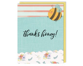 Bumble Bee Thank You - Thanks Honey - Thank You Card - Greeting Card