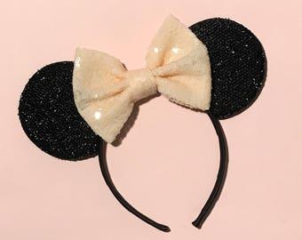 Peach Minnie Ears - Minnie Mouse Headband - Mickey Custom Ears - Sparkly Mickey Ears Headband -  Sparkle Mouse Ears - Sparkle LIGHT NUDE