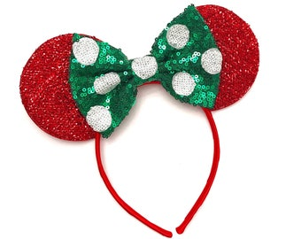 Christmas Polka Dot Minnie Ears - Minnie Mouse Headband - Christmas Mickey Ears - Sparkly Mickey Ears Headband -  CHRISTMAS MICKEY
