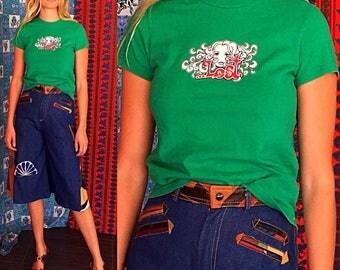 70s Hawaiian T Shirt Hawaiian Surfer Graphic T 1979s Hawaii Surf Mermaid  T Shirt