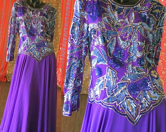 Sequin Party Dress India Beaded Evening Dress Vintage 80s Sequin Gown