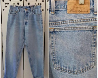 90s Eddie Bauer Faded/Tapered Blue Jeans - Size 14