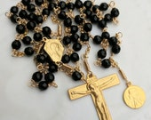 Rosary - Black Onyx Mary of Magdala - 18K Gold Vermeil