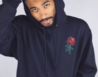 Men's Rose Hoodie • Rose Embroidered Sweatshirt • Rose Embroidery Men's Clothing • Men's Hoodie • Tumblr Hoodie • g185black