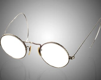 Art Deco white gold filled eyeglasses spectacles circa 1920 round lens Cortland